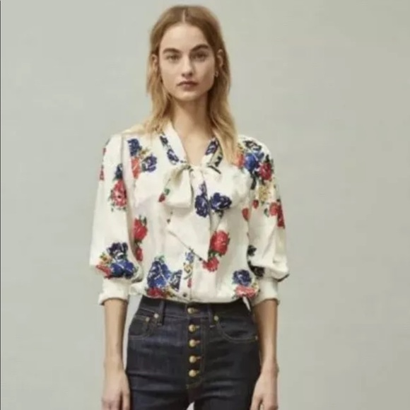 Tory Burch Silk Bow blouse size 4, NWT